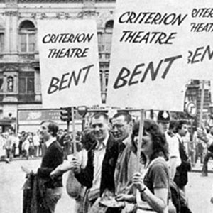 1979, BENT (1979): 24 July 1979: Cast of Bent (Ian McKellen centre left, next to Tom Bell) march in Piccadilly Circus with representatives of other West End shows against Value Added Tax on theatre tickets. At the end of the march, Ian addressed a rally from the stage of the Royal Opera House.  - Photo by Donald Cooper